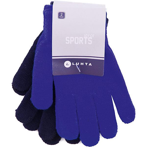 Перчатки Luhta для мальчикаПерчатки<br>Характеристики товара:<br><br>• цвет: синий<br>• комплектация: 2 пары<br>• состав ткани: 95% акрил, 5% эластан<br>• сезон: демисезон<br>• страна бренда: Финляндия<br>• страна изготовитель: Китай<br><br>Удобные мягкие перчатки для мальчика снабжены мягкой резинкой. В этом комплекте - две пары однотонных трикотажных перчаток для детей. Теплые детские перчатки выполнены в модном универсальном цвете. <br><br>Перчатки Luhta (Лухта) для мальчика можно купить в нашем интернет-магазине.<br>Ширина мм: 162; Глубина мм: 171; Высота мм: 55; Вес г: 119; Цвет: синий; Возраст от месяцев: 84; Возраст до месяцев: 1188; Пол: Мужской; Возраст: Детский; Размер: one size; SKU: 7264160;