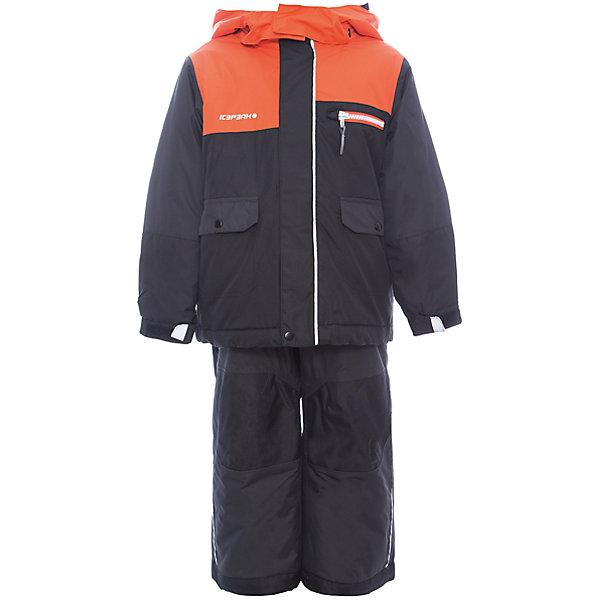 Комплект: куртка и брюки ICEPEAK для мальчикаВерхняя одежда<br>Характеристики товара:<br><br>• цвет: оранжевый <br>• комплектация: куртка и полукомбинезон <br>• состав ткани: 100% полиэстер<br>• подкладка: 100% полиэстер<br>• утеплитель: 100% полиэстер<br>• сезон: зима<br>• температурный режим: от -25 до 0<br>• особенности модели: с капюшоном<br>• плотность утеплителя: 180/120 г/м2<br>• капюшон: без меха, съемный<br>• застежка: молния<br>• страна бренда: Финляндия<br>• страна изготовитель: Китай<br><br>Этот комплект для ребенка создан с учетом потребностей детей. Этот детский комплект для зимы от известного финского бренда Luhta состоит из куртки и полукомбинезона. Комплект для мальчика дополнен карманами, лямками, износотойкими накладками и капюшоном. <br><br>Комплект: куртка и полукомбинезон Luhta (Лухта) для мальчика можно купить в нашем интернет-магазине.<br><br>Ширина мм: 356<br>Глубина мм: 10<br>Высота мм: 245<br>Вес г: 519<br>Цвет: черный<br>Возраст от месяцев: 48<br>Возраст до месяцев: 60<br>Пол: Мужской<br>Возраст: Детский<br>Размер: 110,104,98,92,116,122<br>SKU: 7264446