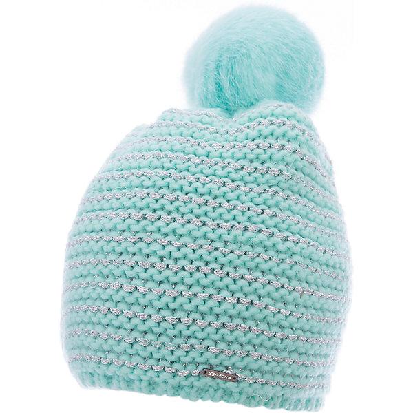 Шапка ICEPEAK для девочкиГоловные уборы<br>Характеристики товара:  <br><br>• цвет: бирюзовый;<br>• состав: 100% полиэстер;<br>• сезон: демисезон;<br>• страна бренда: Финляндия;<br>• страна изготовитель: Китай.  <br><br>Детская шапка с помпоном обеспечит ребенку комфорт и тепло в межсезонье. Эта шапка для девочки легко надевается благодаря эластичному трикотажу. Вязаная шапка для ребенка отличается продуманным дизайном.  <br><br>Шапку Icepeak (Айспик) для девочки можно купить в нашем интернет-магазине.<br>Ширина мм: 88; Глубина мм: 155; Высота мм: 26; Вес г: 106; Цвет: бирюзовый; Возраст от месяцев: 72; Возраст до месяцев: 120; Пол: Женский; Возраст: Детский; Размер: 54-56; SKU: 7264494;