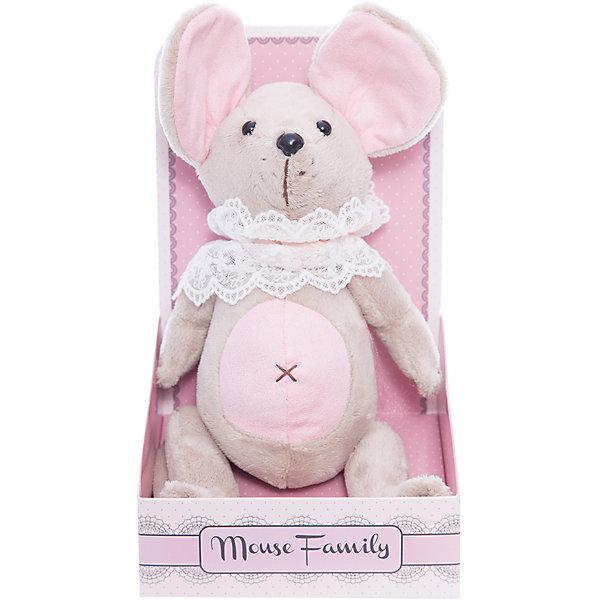 Мягкая игрушка Angel Collection Mouse Family. Мышка-неженка в жабо, шарнирнаяМягкие игрушки животные<br>Характеристики:<br><br>• возраст: от 3 лет<br>• высота: 25 см.<br>• материал: плюш, текстиль, пластмасса<br>• наполнитель: полиэфирное волокно, полиэтиленовые гранулы<br>• уход: допускается ручная стирка при температуре 30 градусов<br><br>Мышка «Неженка» - это авторская мягкая игрушка из оригинальной коллекции Mouse Family торговой марки Fluffy Family.<br><br>Очаровательная мышка из серии Baby Mouse совсем еще малышка, трогательная и нежная. У мышки подвижные шарнирные лапки, большие уши, розовый животик, глазки-пуговицы. Индивидуальность образа мышки Неженки подчеркивает кружевное жабо, украшенное бантом нежно-персикового цвета.<br><br>Игрушка изготовлена из плюша и текстильных материалов, фурнитура выполнена из пластмассы. Наполнитель - полиэфирное волокно и полиэтиленовые гранулы.<br><br>Упаковка, созданная в модном стиле шебби-шик, придает стилевую законченность игрушечному образу и воплощает идею готового подарка с ярким характером и большим шармом.<br><br>Мышку шарнирную Вaby mouse Неженка в жабо можно купить в нашем интернет-магазине.<br><br>Ширина мм: 150<br>Глубина мм: 130<br>Высота мм: 260<br>Вес г: 750<br>Возраст от месяцев: 36<br>Возраст до месяцев: 2147483647<br>Пол: Женский<br>Возраст: Детский<br>SKU: 7265490
