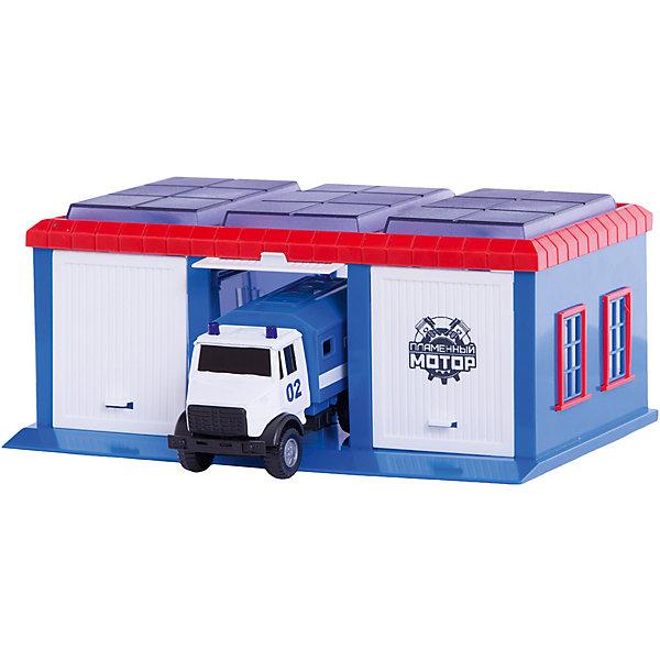 Гараж Пламенный мотор Полиция, 1 машинкаПарковки и гаражи<br>Характеристики товара:<br><br>• возраст: от 3 лет;<br>• материал: пластик;<br>• в комплекте: машина, 1 машинка;<br>• размер упаковки: 23х20х16 см;<br>• вес упаковки: 500 гр;<br>• страна производитель: Китай.<br><br>Игровой набор «Гараж Полиция» Пламенный мотор включает в себя гараж и полицейский грузовик. У гаража имеются 3 отделения для машинок, одно из которых закрытое. Набор можно дополнить другими аксессуарами, чтобы разнообразить игровой процесс. Игрушка выполнена из качественного пластика.<br><br>Игровой набор «Гараж Полиция» Пламенный мотор можно приобрести в нашем интернет-магазине.<br>Ширина мм: 9999; Глубина мм: 9999; Высота мм: 9999; Вес г: 500; Возраст от месяцев: 36; Возраст до месяцев: 2147483647; Пол: Мужской; Возраст: Детский; SKU: 7265505;