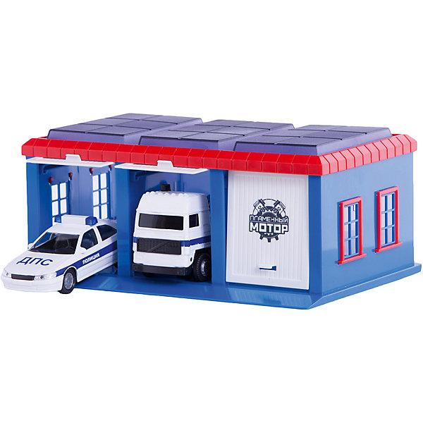 Гараж Пламенный мотор Полиция, 2 машинкиПарковки и гаражи<br>Характеристики товара:<br><br>• возраст: от 3 лет;<br>• материал: пластик;<br>• в комплекте: машина, 2 машинки;<br>• размер упаковки: 23х20х16 см;<br>• вес упаковки: 590 гр;<br>• страна производитель: Китай.<br><br>Игровой набор «Гараж Полиция» Пламенный мотор включает в себя гараж и 2 полицейские машины. У гаража имеются 3 отделения для машинок, одно из которых закрытое. Набор можно дополнить другими аксессуарами, чтобы разнообразить игровой процесс. Игрушка выполнена из качественного пластика.<br><br>Игровой набор «Гараж Полиция» Пламенный мотор можно приобрести в нашем интернет-магазине.<br>Ширина мм: 9999; Глубина мм: 9999; Высота мм: 9999; Вес г: 590; Возраст от месяцев: 36; Возраст до месяцев: 2147483647; Пол: Мужской; Возраст: Детский; SKU: 7265506;