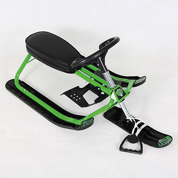Снегокат Дэми Kiddy, зеленыйСанки и снегокаты<br>Характеристики:<br><br>• возраст ребенка: от 18 месяцев до 7 лет;<br>• грузоподъемность: не более 60 кг;<br>• устойчивость на поворотах;<br>• автоматическое скручивание буксировочного шнура;<br>• назначение: карвинг, езда на мягком и жестком склоне;<br>• регулируемый размер сиденья снегоката;<br>• снегокат легкий, ребенок сможет самостоятельно поднимать его на склон;<br>• материал: металл, углепластик;<br>• размер снегоката: 92,5х48,5х43 см;<br>• высота сиденья от земли: от 22,5 см;<br>• вес снегоката: 4,6 кг;<br>• размер упаковки: 49х73х31 см;<br>• вес в упаковке: 5 кг.<br><br>Снегокат Kiddy Dami СНК.10 предназначен для активных игр в зимний период. Легкий и маневренный, снегокат устойчив на поворотах, ребенок сам управляет транспортным средством и тащит его вверх на склон. Снегокат рассчитан на детей разного возраста: как полуторагодовалые малыши весело прокатятся с горки, так и дошкольники смогут резво рассекать и уже выделывать различные трюки верхом на металлическом коне. <br><br>Cнегокат СНК.10 «Kiddy» зеленый можно купить в нашем интернет-магазине.<br><br>Ширина мм: 1050<br>Глубина мм: 485<br>Высота мм: 406<br>Вес г: 4600<br>Возраст от месяцев: 180<br>Возраст до месяцев: 84<br>Пол: Унисекс<br>Возраст: Детский<br>SKU: 7265644