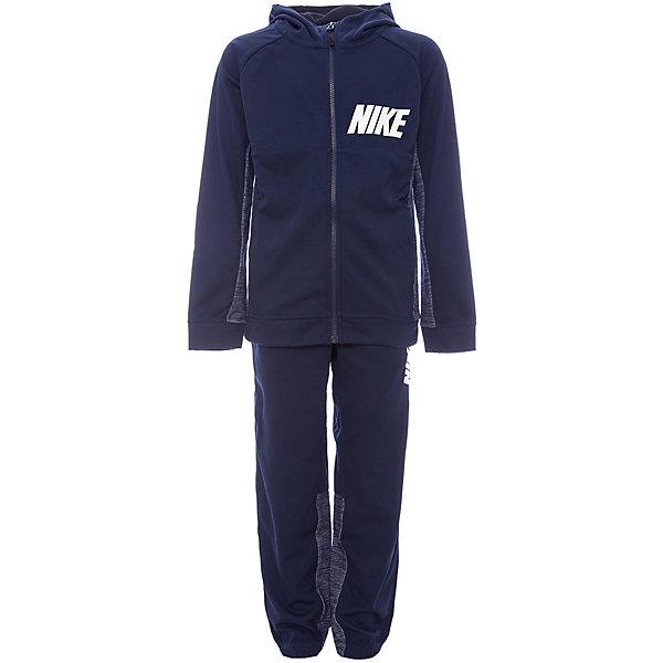 Костюм NIKEСпортивные костюмы<br>Характеристики товара:<br><br>• цвет: черный<br>• комплектация: курточка, брюки<br>• состав ткани: 80% хлопок, 20% полиэстер - флис с начесом<br>• сезон: демисезон<br>• особенности модели: спортивный стиль<br>• длинные рукава<br>• застежка: молния<br>• пояс: резинка и шнурок<br>• капюшон: несъемный<br>• страна бренда: США<br>• страна изготовитель: Малайзия<br><br>Спортивный костюм Найк сделан из дышащей ткани с преобладанием натурального хлопка в составе. Синий спортивный костюм Nike отлично подходит для отдыха и занятий спортом. Эта модель спортивного комплекта для детей отличается удобным капюшоном и карманами. Стильный детский спортивный костюм от популярного бренда Nike создан с учетом потребностей детей. <br><br>Спортивный костюм Nike (Найк) можно купить в нашем интернет-магазине.<br>Ширина мм: 247; Глубина мм: 16; Высота мм: 140; Вес г: 225; Цвет: черный; Возраст от месяцев: 96; Возраст до месяцев: 108; Пол: Унисекс; Возраст: Детский; Размер: 128/134,158/170,147/158,135/140; SKU: 7265677;