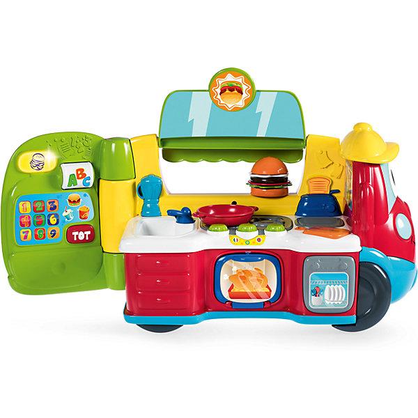 Развивающая игрушка Chicco Фургон-кухня (рус/англ)Развивающие центры<br>Характеристики:<br><br>• двуязычная игрушка;<br>• игрушка 2в1: автомобиль и кухня;<br>• озвучивание: русский и английский язык;<br>• музыкальное сопровождение;<br>• световые эффекты;<br>• свободный ход колес;<br>• электронная касса;<br>• аксессуары в комплекте;<br>• материал: пластик;<br>• размер фургона: 25х20х43 см;<br>• размер кухни: 25х20х57 см;<br>• тип батареек: 3 шт. типа АА 1,5В;<br>• батарейки включены в комплект. <br><br>Мобильная кухня на колесах: всего несколько манипуляций, и кухня превращается в автомобиль. В процессе приготовления еды можно изучать цифры, названия продуктов и предметов. Ребенок сможет выучить около 50 слов на русском и английском языке. <br>В комплекте представлены такие аксессуары, как посуда, кухонная утварь, продукты питания. Ребенок может приготовить многослойный бутерброд: ингредиенты выкладываются друг на друга как пирамидка. В процессе игры развивается фантазия, творческое мышление, образное восприятие.  <br><br>Говорящую игрушку «Фургон-кухня» (рус/англ) можно купить в нашем интернет-магазине.<br><br>Ширина мм: 565<br>Глубина мм: 225<br>Высота мм: 300<br>Вес г: 4808<br>Возраст от месяцев: 12<br>Возраст до месяцев: 48<br>Пол: Унисекс<br>Возраст: Детский<br>SKU: 7265690