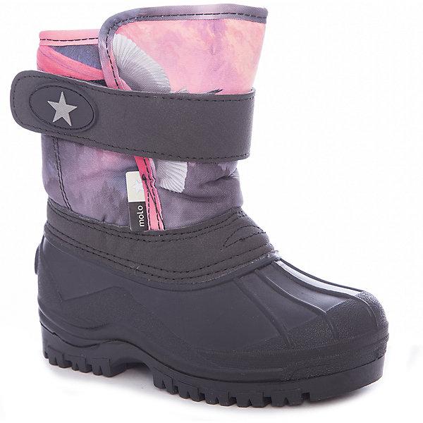 Сноубутсы Molo для девочкиСноубутсы<br>Характеристики товара:<br><br>• цвет: розовый<br>• внешний материал: текстиль<br>• внутренний материал: искусственный мех<br>• стелька: искусственный мех<br>• подошва: резина<br>• сезон: демисезон<br>• водонепроницаемая пропитка верха<br>• температурный режим: от -5 до +5<br>• застежка: липучка<br>• защита мыса<br>• подошва не скользит<br>• анатомические <br>• страна бренда: Дания<br>• страна изготовитель: Китай<br><br>Демисезонные сапоги для девочки призваны защитить ноги их от ветра, холода и влаги. Утепленные детские сапоги имеют не только стильный проработанный дизайн, но и отлично подходят для мокрой и холодной погоды межсезонья. Теплая детская обувь от известного бренда Molo высокотехнологичная и стильная.<br><br>Сапоги Molo (Моло)  для девочки можно купить в нашем интернет-магазине.<br>Ширина мм: 257; Глубина мм: 180; Высота мм: 130; Вес г: 420; Цвет: синий; Возраст от месяцев: 18; Возраст до месяцев: 21; Пол: Женский; Возраст: Детский; Размер: 23,30,29,28,27,26,25,24; SKU: 7265713;
