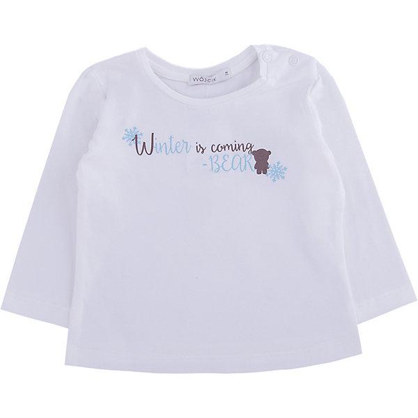 Футболка с длинным рукавом Wojcik для девочкиФутболки с длинным рукавом<br>Характеристики товара:<br><br>• цвет: белый<br>• состав ткани: 92% хлопок, 8% эластан<br>• сезон: демисезон<br>• длинные рукава<br>• страна бренда: Польша<br>• комфорт и качество<br><br>Модная футболка с длинным рукавом для девочки Войчик легко надевается, благодаря двум кнопкам на воротнике. Белый лонгслив для детей сделан из дышащего мягкого материала. Бренд Wojcik - это польская детская одежда отличного качества по доступной цене. Детский лонгслив декорирован забавным принтом, очень практичная и долгая в носке модель, цвет не тускнеет, смотрится аккуратно и стильно.<br><br>Лонгслив Wojcik (Войчик) для девочки можно купить в нашем интернет-магазине.<br>Ширина мм: 230; Глубина мм: 40; Высота мм: 220; Вес г: 250; Цвет: бежевый; Возраст от месяцев: 24; Возраст до месяцев: 36; Пол: Женский; Возраст: Детский; Размер: 98; SKU: 7266726;