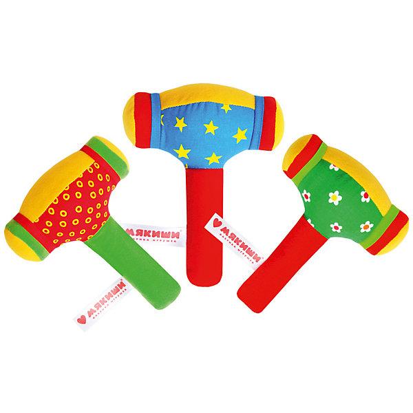 Мягкая игрушка Мякиши ШуМякиши, Молоточек (в ассортименте)Игрушки для новорожденных<br>Характеристики:<br><br>• возраст: от 0 лет<br>• материал: текстиль, пластик<br>• размер упаковки: 26х16,5х5,5 см.<br>• вес: 140 гр.<br>• ВНИМАНИЕ! Данный артикул представлен в разных вариантах исполнения. К сожалению, заранее выбрать определенный вариант невозможно. При заказе нескольких игрушек возможно получение одинаковых<br><br>Оригинальная погремушка «ШуМякиши» - это красочная мягкая игрушка в виде необычного молоточка с удобной ручкой. Яркие цвета игрушки привлекут внимание малышей, а разные фактуры материалов разовьют тактильные ощущения.<br><br>Внутри мягкой конструкции имеется пластиковый контейнер, наполненный гремящими элементами, которые создают забавный шум, когда ребенок ударяет молоточком о твердую поверхность или трясет его в ручках.<br><br>Благодаря тому, что снаружи игрушка является мягкой, дети не поранятся и не поранят других, если случайно стукнут игрушкой себя или кого-то еще.<br><br>Игрушка идеально подходит для развития мелкой моторики, зрительного и слухового восприятия.<br><br>Изготовлено из гипоаллергенных материалов.<br><br>Игрушку ШуМякиши (Молоточек) можно купить в нашем интернет-магазине.<br>Ширина мм: 250; Глубина мм: 165; Высота мм: 55; Вес г: 140; Возраст от месяцев: -2147483648; Возраст до месяцев: 2147483647; Пол: Унисекс; Возраст: Детский; SKU: 7266986;
