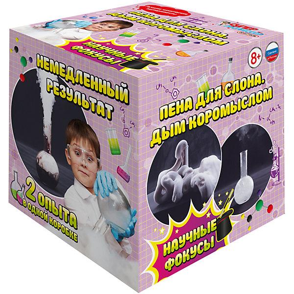 Серия лучших химических экспериментов Пена для слона, Дым коромысломХимия и физика<br>Характеристики товара: <br><br>• возраст: от 8 лет;<br>• материал: пластик, реагенты;<br>• размер упаковки: 12х12х12 см;<br>• вес упаковки: 220 гр.;<br>• страна производитель: Россия.<br><br>Набор для опытов «Пена для слона, Дым коромыслом» Qiddycome позволит провести 2 необычных эксперимента. Сначала в следствие химической реакции образуется облако водяных паров. Затем в следующем опыте при помощи тепла содержимое вспенивается и выходит из колбы в виде большой мыльной пены.<br><br>Набор для опытов «Пена для слона, Дым коромыслом» Qiddycome можно приобрести в нашем интернет-магазине.<br><br>Ширина мм: 120<br>Глубина мм: 120<br>Высота мм: 120<br>Вес г: 220<br>Возраст от месяцев: 96<br>Возраст до месяцев: 2147483647<br>Пол: Унисекс<br>Возраст: Детский<br>SKU: 7272082