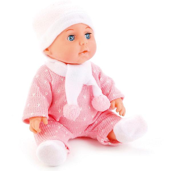Интерактивный пупс Карапуз с аксессуарами 3 функции, в розовомКуклы<br>Пупс Карапуз 30 см — очаровательный малыш, одетый в теплый костюмчик, шапочку и шарфик. У куклы подвижные ручки и ножки. Малыша можно напоить из бутылочки, но затем не забыть посадить его на горшок или одеть памперс, чтобы он пописал. Чтобы уложить пупса спать, можно дать ему соску, он закроет глазки и крепко уснет. возраст: от 3 лет;материал: пластик, текстиль; в комплекте: пупс, бутылочка, подгузник, горшок, соска, свидетельство о рождении; высота куклы: 30 см;размер упаковки: 30х27х16 см;вес упаковки: 1,08 кг;страна производитель: Китай.<br><br>Ширина мм: 300<br>Глубина мм: 160<br>Высота мм: 270<br>Вес г: 1080<br>Возраст от месяцев: 36<br>Возраст до месяцев: 60<br>Пол: Женский<br>Возраст: Детский<br>SKU: 7272112