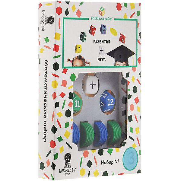 Настольная игра Pandoras Box Studio Математический набор №3Пособия для обучения счёту<br>Характеристики:<br><br>• дидактический материал на кубиках;<br>• создание примеров с помощью кубиков и фишек;<br>• обучение детей счету в пределах 24;<br>• математические операции сложение/вычитание;<br>• 2 цвета фишек;<br>• состав набора: 2 кубика с цифрами от 1 до 12, кубик операций +/-, 24 круглых фишек-счетчиков, правила игры;<br>• размер упаковки: 11х15х5,5 см;<br>• вес: 55 г.<br><br>Правила игры:<br><br>• с помощью кубиков генерируется пример;<br>• математическое действие определяется другим кубиком;<br>• раскладываются фишки;<br>• цвета фишек равно количеству граней кубика;<br>• на фишки одного цвета выкладываются фишки другого цвета;<br>• цвет фишек соответствует цвету кубиков. <br><br>В процессе изучения цифр ребенок учится решать простые примеры. Математические действия на сложение и вычитание представлены в пределах 24. Комплект набора Pandoras Box Studio позволяет наглядно объяснить ребенку, каким образом вычитаем и прибавляем числа. В игровой форме процесс обучения выглядит понятнее и интереснее. Взаимодействие детей и взрослых помогает им найти общий язык. <br><br>Математический набор №3 можно купить в нашем интернет-магазине.<br>Ширина мм: 25; Глубина мм: 110; Высота мм: 150; Вес г: 55; Возраст от месяцев: 84; Возраст до месяцев: 2147483647; Пол: Унисекс; Возраст: Детский; SKU: 7272139;