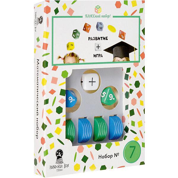 Настольная игра Pandoras Box Studio Математический набор №7Пособия для обучения счёту<br>Характеристики:<br><br>• дидактический материал на кубиках;<br>• создание примеров с помощью кубиков и фишек;<br>• обучение детей счету в пределах 20;<br>• математические операции сложение/вычитание;<br>• 2 цвета фишек;<br>• состав набора: 2 кубика с цифрами от 1 до 10, кубик операций +/-, 20 круглых фишек-счетчиков, правила игры;<br>• размер упаковки: 11х15х5,5 см;<br>• вес: 55 г.<br><br>Правила игры:<br><br>• с помощью кубиков генерируется пример;<br>• математическое действие определяется другим кубиком;<br>• раскладываются фишки;<br>• цвета фишек равно количеству граней кубика;<br>• на фишки одного цвета выкладываются фишки другого цвета;<br>• цвет фишек соответствует цвету кубиков. <br><br>В процессе изучения цифр ребенок учится решать простые примеры. Математические действия на сложение и вычитание представлены в пределах 20. Комплект набора Pandoras Box Studio позволяет наглядно объяснить ребенку, каким образом вычитаем и прибавляем числа. В игровой форме процесс обучения выглядит понятнее и интереснее. Взаимодействие детей и взрослых помогает им найти общий язык. <br><br>Математический набор №7 можно купить в нашем интернет-магазине.<br>Ширина мм: 25; Глубина мм: 110; Высота мм: 150; Вес г: 55; Возраст от месяцев: 84; Возраст до месяцев: 2147483647; Пол: Унисекс; Возраст: Детский; SKU: 7272140;
