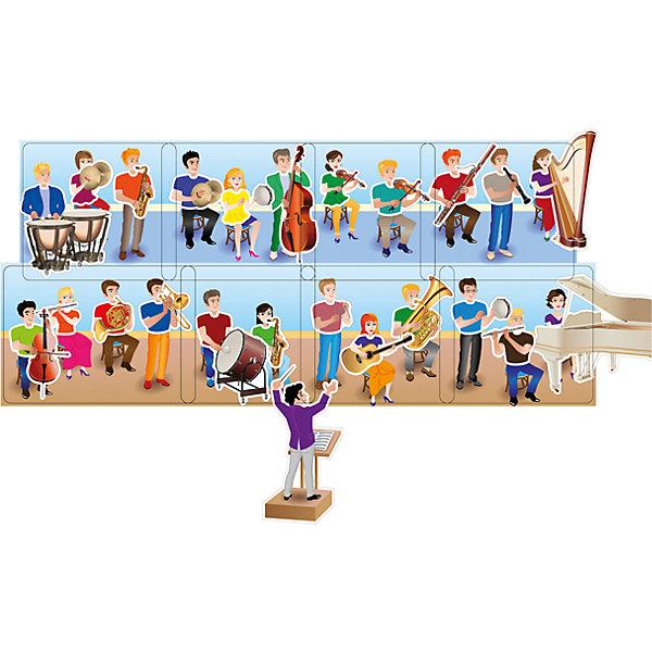 Настольная игра PicnMix Веселый оркестрНастольные игры для всей семьи<br>Характеристики товара:<br><br>• возраст: от 3 лет;<br>• материал: картон, полипропилен;<br>• в комплекте: 7 игровых полей, 26 съемных изображений с инструментами, фигурка дирижера, брошюра;<br>• размер упаковки: 25х16х6,4 см;<br>• вес упаковки: 337 гр.;<br>• страна производитель: Россия.<br><br>Игра настольная развивающая «Веселый оркестр» PicnMix познакомит малышей с музыкальными инструментами. В игре возможно несколько вариантов: можно рассказывать про каждый инструмент, разделять их по категориям. Методическое пособие поможет придумать разнообразные игры. Игра развивает внимательность, тренирует память, обогатит словарный запас.<br><br>Игру настольную развивающую «Веселый оркестр» PicnMix можно приобрести в нашем интернет-магазине.<br>Ширина мм: 250; Глубина мм: 64; Высота мм: 160; Вес г: 337; Возраст от месяцев: 36; Возраст до месяцев: 2147483647; Пол: Унисекс; Возраст: Детский; SKU: 7272932;