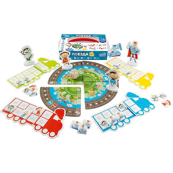 Настольная игра PicnMix Аркадий Паровозов. ПоездаНастольные игры для всей семьи<br>Характеристики товара:<br><br>• возраст: от 1 года;<br>• материал: картон, пластик;<br>• в комплекте: 4 фигурки, 40 элементов, 4 поезда, 1 железная дорога, кубик, инструкция;<br>• количество игроков: от 1 до 4 человек;<br>• размер упаковки: 25х16х5,2 см;<br>• вес упаковки: 350 гр.;<br>• страна производитель: Россия.<br><br>Игра настольная развивающая «Аркадий Паровозов. Поезда» PicnMix — увлекательная игра для малышей, в которой они отправятся в путешествие на поезде. Главная цель в игре — сажать пассажиров в свой поезд. Каждый игрок бросает кубик, передвигается по полю и смотрит, какое количество пассажиров он может посадить в свой вагон. Игра развивает основные арифметические операции, знакомит с цифрами от 1 до 10, тренирует логическое мышление и память.<br><br>Игру настольную развивающую «Аркадий Паровозов. Поезда» PicnMix можно приобрести в нашем интернет-магазине.<br>Ширина мм: 250; Глубина мм: 54; Высота мм: 160; Вес г: 350; Возраст от месяцев: 12; Возраст до месяцев: 2147483647; Пол: Унисекс; Возраст: Детский; SKU: 7272934;