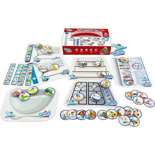 Настольная игра PicnMix Аркадий Паровозов. ПродуктыНастольные игры для всей семьи<br>Характеристики товара:<br><br>• возраст: от 1 года;<br>• материал: картон, пластик;<br>• в комплекте: 6 игровых полей, 34 карточки с продуктами, 5 карточек-образцов, инструкция;<br>• количество игроков: от 1 до 4 человек;<br>• размер упаковки: 25х16х5,4 см;<br>• вес упаковки: 320 гр.;<br>• страна производитель: Россия.<br><br>Игра настольная развивающая «Аркадий Паровозов. Продукты» PicnMix — увлекательная игра для малышей, в которой они познакомятся в продуктами. Игрокам предстоит отправиться за покупками. Игровое поле разделено на несколько секторов: продуктовая тележка, стеллаж, холодильник, плита, салатник. После покупок нужно распределить продукты каждый на свое место. Игра тренирует речь, память, логическое мышление, зрительное восприятие.<br><br>Игру настольную развивающую «Аркадий Паровозов. Продукты» PicnMix можно приобрести в нашем интернет-магазине.<br>Ширина мм: 250; Глубина мм: 54; Высота мм: 160; Вес г: 320; Возраст от месяцев: 12; Возраст до месяцев: 2147483647; Пол: Унисекс; Возраст: Детский; SKU: 7272936;