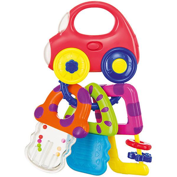 Музыкальный брелок-погремушка Happy Baby Baby Car KeysИгрушки для новорожденных<br>Характеристики:<br><br>• музыкальная игрушка: 6 веселых мелодий;<br>• забавные звуки: звук работающего двигателя, клаксона и звук разгона автомобиля;<br>• кнопка активации находится на машинке;<br>• развивающие подвески: развитие тактильного восприятия;<br>• подвески-ключики: прорезыватель, перекатные бусинки, брелочки;<br>• яркое цветовое решение;<br>• материал: полипропилен;<br>• не содержит бисфенол-А;<br>• размер упаковки: 13х4х24 см;<br>• вес: 173 г.<br><br>Развивающая игрушка со звуковыми эффектами используется для развития слуха, внимания, тактильных ощущений. Наличие прорезывателя поможет успокоить кроху на этапе прорезывания зубов. Перекатные бусинки на брелке направлены на развитие мелкой моторики пальчиков. Звуковые эффекты развивают слух и позволяют малышу поворачивать головку на источник звука.  <br><br>Музыкальный брелок «Baby car keys» можно купить в нашем интернет-магазине.<br><br>Ширина мм: 13<br>Глубина мм: 4<br>Высота мм: 24<br>Вес г: 173<br>Возраст от месяцев: 3<br>Возраст до месяцев: 36<br>Пол: Унисекс<br>Возраст: Детский<br>SKU: 7276408