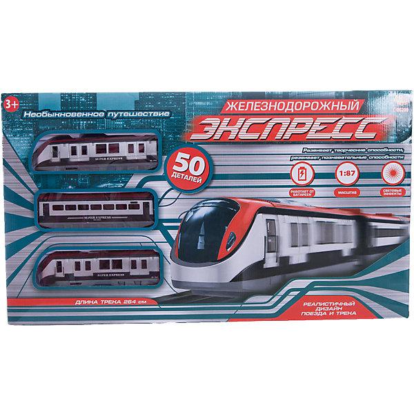 Железная дорога Abtoys Экспресс 50 деталей, 176 смЖелезные дороги<br>Характеристики товара:<br><br>• возраст: от 3 лет;<br>• материал: пластик, металл;<br>• в комплекте: вагон (3 шт.), соединитель для вагонов (2 шт.), фиксатор (4 шт.), фиксатор для опоры (4 шт.), одноуровневая опора (6 шт.), соединитель (3 шт.), дерево (3 шт.), мост (1 шт.), короткие прямые части трека (1 шт.), прямые части трека (3 шт.), изогнутые части трека (8 шт.), указательный столб (2 шт.), электрический столб (2 шт.), световой сигнал, зеленые основания (3 шт.,) красные основания (2 шт.), ж/д станция (2 детали);<br>• тип батареек: 2 батарейки АА;<br>• наличие батареек: не входят в комплект;<br>• длина полотна: 264 см;<br>• размер железной дороги: 105,6х66,6 см;<br>• масштаб: 1:87;<br>• размер упаковки: 54,4х31х5 см;<br>• вес упаковки: 1,1 кг;<br>• страна производитель: Китай.<br><br>Железная дорога «Экспресс» 50 деталей Abtoys — увлекательная игрушка, которая позволит ребенку самостоятельно собрать железную дорогу и запустить по ней поезд. Все детали легко соединяются между собой. Поезд приводится в движение нажатием на тумблер. Игрушка оснащена световыми эффектами, которые сделают игру еще увлекательней.<br><br>Железную дорогу «Экспресс» 50 деталей Abtoys можно приобрести в нашем интернет-магазине.<br>Ширина мм: 545; Глубина мм: 50; Высота мм: 310; Вес г: 1100; Возраст от месяцев: 36; Возраст до месяцев: 120; Пол: Мужской; Возраст: Детский; SKU: 7276529;