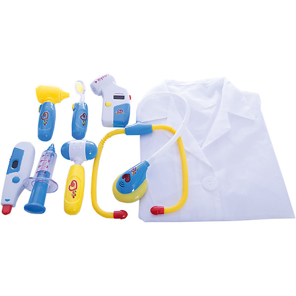 Игровой набор Abtoys Маленький доктор с халатом, 8 предметовНаборы доктора и ветеринара<br>Характеристики товара:<br><br>• возраст: от 3 лет;<br>• материал: пластик;<br>• в комплекте:  пульсоксиметр, стетоскоп, халат, градусник, отоскоп, рефлекторный молоточек, зеркало, шприц;<br>• размер упаковки: 54,5х33х4,5 см;<br>• вес упаковки: 630 гр.;<br>• страна производитель: Китай.<br><br>Игровой набор «Маленький доктор» Abtoys позволит детям попробовать себя в роли доктор. В нем есть все необходимые медицинские инструменты и даже белый халат. Игрушки оснащены световыми и звуковыми эффектами. Если нажать на стетоскоп, то на нем загорится сердце и будет слышен звук сердцебиения. Нажав на отоскоп и зеркало, они начнут просвечиваться. На градуснике есть шкала, значения цифр которой регулируются рычажком. <br><br>Игровой набор «Маленький доктор» Abtoys можно приобрести в нашем интернет-магазине.<br><br>Ширина мм: 545<br>Глубина мм: 45<br>Высота мм: 330<br>Вес г: 630<br>Возраст от месяцев: 36<br>Возраст до месяцев: 120<br>Пол: Унисекс<br>Возраст: Детский<br>SKU: 7276530