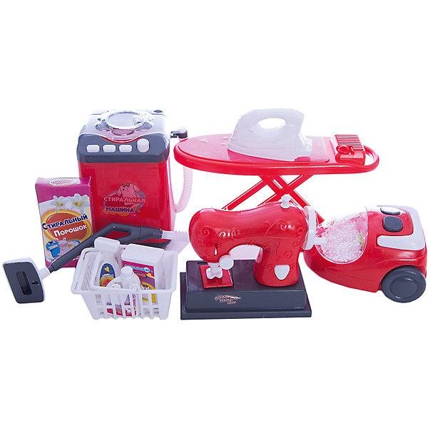 Игровой набор Abtoys Помогаю маме Набор для уборки, стирки и шитьяНаборы для уборки<br>Характеристики товара:<br><br>• возраст: от 3 лет;<br>• материал: пластик;<br>• в комплекте: машинка для шитья, стиральная машинка, пылесос, корзина, средства для стирки 4 шт., доска для глажки белья, утюг;<br>• тип батареек: 6 батареек АА;<br>• наличие батареек: в комплект не входят;<br>• размер упаковки: 40х22х9 см;<br>• вес упаковки: 700 гр.;<br>• страна производитель: Китай.Игровой набор «Помогаю Маме. Набор для уборки, стирки и шитья» Abtoys содержит миниатюрные предметы домашнего обихода, играя с которыми девочка научится правильно обращаться с ними. Маленькая хозяйка сможет погладить утюжком, стирать вещи в стиральной машинке, и даже попробовать себя в роли швеи. Игрушки оснащены световыми и звуковыми эффектами. <br><br>Игровой набор «Помогаю Маме. Набор для уборки, стирки и шитья» Abtoys можно приобрести в нашем интернет-магазине.<br>Ширина мм: 400; Глубина мм: 90; Высота мм: 220; Вес г: 700; Возраст от месяцев: 36; Возраст до месяцев: 120; Пол: Женский; Возраст: Детский; SKU: 7276536;