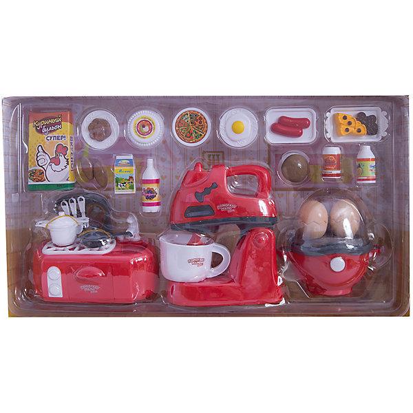 Игровой набор Abtoys Помогаю маме Кухонная техника с продуктамиИгрушечная бытовая техника<br>Характеристики товара:<br><br>• возраст: от 3 лет;<br>• материал: пластик;<br>• в комплекте: плита, блендер, яйцеварка, чашка, яйцо 2 шт., ложка, вилка, ножик, кастрюля с крышкой, сковорода с крышкой, кран, упаковка с напитком 4 шт., приправа для курицы в коробке, пицца, печенье 6 шт., пирожные 5 шт., хот-дог 2 шт., гамбургер, тарелка 4 шт;<br>• тип батареек: 6 батареек АА;<br>• наличие батареек: в комплект не входят;<br>• размер упаковки: 40х22х9 см;<br>• вес упаковки: 700 гр.;<br>• страна производитель: Китай.Игровой набор «Помогаю маме. Кухонная техника с продуктами» Abtoys познакомит юную хозяйку с устройством и назначением кухонной техники и позволит приготовить вкусные блюда своим любимым куклам. Игрушки оснащены световыми эффектами. В микроволновке крутится тарелка. Игрушки выполнены из качественного пластика. <br><br>Игровой набор «Помогаю маме. Кухонная техника с продуктами» Abtoys можно приобрести в нашем интернет-магазине.<br>Ширина мм: 400; Глубина мм: 90; Высота мм: 220; Вес г: 700; Возраст от месяцев: 36; Возраст до месяцев: 120; Пол: Женский; Возраст: Детский; SKU: 7276537;