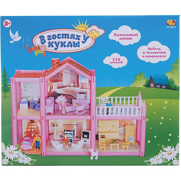 Кукольный дом Abtoys В гостях у куклы с мебелью и человечками, 113 деталейДомики для кукол<br>Характеристики товара:<br><br>• возраст: от 3 лет;<br>• материал: пластик;<br>• в комплекте: 113 деталей;<br>• размер упаковки: 39х33х5 см;<br>• вес упаковки: 1,033 кг;<br>• страна производитель: Китай.<br><br>Кукольный дом «В гостях у куклы» Abtoys представляет собой кукольный домик из 2 этажей с небольшой террасой. Все предметы мебели девочка сможет расставлять по своему усмотрению. В набор включены мини-фигурки.<br><br>Кукольный дом «В гостях у куклы» Abtoys можно приобрести в нашем интернет-магазине.<br>Ширина мм: 390; Глубина мм: 50; Высота мм: 330; Вес г: 1030; Возраст от месяцев: 36; Возраст до месяцев: 120; Пол: Женский; Возраст: Детский; SKU: 7276543;