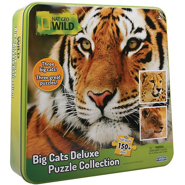 Пазл 3 в одном гепард, тигр и левПазлы классические<br>Характеристики товара:<br><br>• возраст: от 3 лет; <br>• количество деталей: 150 шт.;<br>• комплект: 3 пазла;<br>• материал: пластик;<br>• упаковка: металлическая шкатулка;<br>• размер пазла: 30х30 см.;<br>• страна обладатель бренда: США.<br><br>Набор пазлов в металлической коробке понравится всем любителям живой природы. <br><br>В комплект входят три большие картинки львицы, тигра и гепарда. В готовом виде пазлы превращаются в большие и яркие фотографии жителей саванны. <br><br>После сборки пазла, картинку можно проклеить специальным клеем, который приобретается отдельно, и поместить в рамку. <br><br>Пазл 3 в одном можно купить в нашем интернет-магазине.<br><br>Ширина мм: 270<br>Глубина мм: 70<br>Высота мм: 270<br>Вес г: 790<br>Возраст от месяцев: 36<br>Возраст до месяцев: 84<br>Пол: Унисекс<br>Возраст: Детский<br>SKU: 7276648