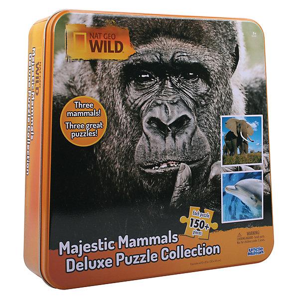 Пазл 3 в одном слон, горилла и дельфинПазлы классические<br>Характеристики товара:<br><br>• возраст: от 3 лет;<br>• количество деталей: 150 шт.;<br>• комплект: 3 пазла;<br>• материал: пластик;<br>• упаковка: металлическая шкатулка;<br>• размер пазла: 30х30 см.;<br>• страна обладатель бренда: США.<br><br>Набор пазлов понравится всем любителям живой природы. <br><br>В жестяной коробке находится 3 пазла с изображениями гориллы, дельфина и слона.<br><br>После сборки пазла, картинку можно проклеить специальным клеем, который приобретается отдельно, и поместить в рамку. <br><br>Пазл 3 в одном можно купить в нашем интернет-магазине.<br>Ширина мм: 270; Глубина мм: 70; Высота мм: 270; Вес г: 790; Возраст от месяцев: 36; Возраст до месяцев: 84; Пол: Унисекс; Возраст: Детский; SKU: 7276649;