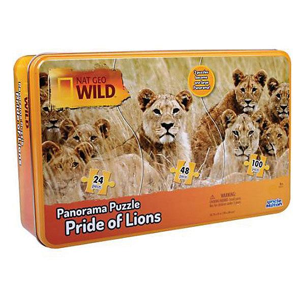 Панорамный пазл ЛьвыПазлы для малышей<br>Характеристики товара:<br><br>• возраст: от 3 лет;<br>• количество деталей: 172 шт.;<br>• комплект: 3 части пазла 24, 48, 100 элементов;<br>• материал: картон;<br>• размер упаковки: 26,5х7х16,5 см.;<br>• упаковка: металлический бокс;<br>• вес: 660 гр.;<br>• размер пазла: 78х38 см.;<br>• страна обладатель бренда: США.<br><br>Панорамный пазл состоит из 3 частей разного размера, которые собираются в большую панорамную картину. <br><br>Качественная фотография африканских львов перенесена на плотный картон в виде печатного изображения и разрезана на 172 элемента, которые нужно собрать в одну картину. <br><br>Пазл находится в жестяном боксе, что не позволит мелким элементам рассыпаться или потеряться во время сборки. <br><br>Панорамный пазл можно купить в нашем интернет-магазине.<br><br>Ширина мм: 165<br>Глубина мм: 70<br>Высота мм: 267<br>Вес г: 660<br>Возраст от месяцев: 36<br>Возраст до месяцев: 84<br>Пол: Унисекс<br>Возраст: Детский<br>SKU: 7276655