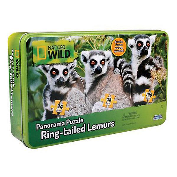 Панорамный пазл ЛемурыПазлы для малышей<br>Характеристики товара:<br><br>• возраст: от 3 лет; <br>• количество деталей: 172 шт.;<br>• комплект: 3 части пазла 24, 48, 100 элементов;<br>• материал: картон;<br>• размер упаковки: 26,5х7х16,5 см.;<br>• упаковка: металлический бокс;<br>• вес: 660 гр.;<br>• размер пазла: 78х38 см.;<br>• страна обладатель бренда: США.<br><br>Панорамный пазл состоит из 3 частей разного размера, которые собираются в большую панорамную картину. <br><br>Качественная фотография лемуров перенесена на плотный картон в виде печатного изображения и разрезана на 172 элемента, которые нужно собрать в одну картину. <br><br>Пазл находится в жестяном боксе, что не позволит мелким элементам рассыпаться или потеряться во время сборки. <br><br>Панорамный пазл можно купить в нашем интернет-магазине.<br>Ширина мм: 165; Глубина мм: 70; Высота мм: 267; Вес г: 660; Возраст от месяцев: 36; Возраст до месяцев: 84; Пол: Унисекс; Возраст: Детский; SKU: 7276656;