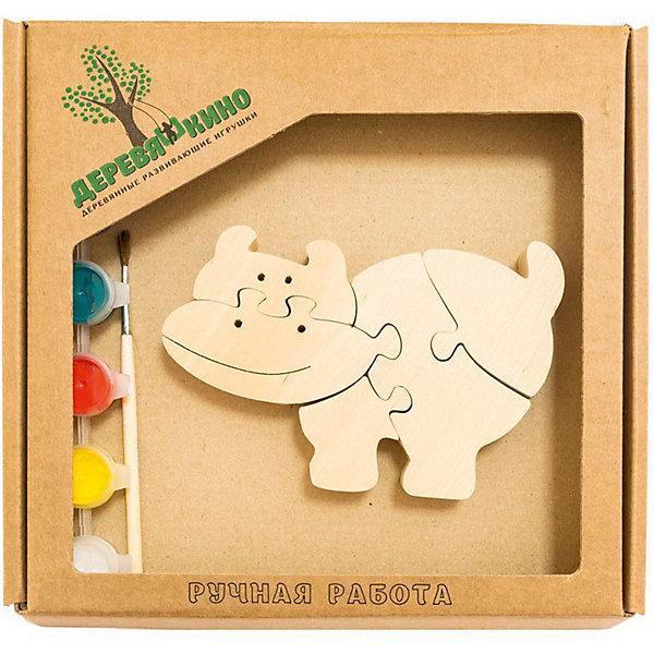 Развивающий пазл БегемотикПазлы для малышей<br>Характеристики товара:<br><br>• возраст: от 3 лет;<br>• количество деталей: 11 шт.;<br>• материал: пластик, дерево, краски;<br>• комплект: элементы пазла, кисточка, краски 6 цветов;<br>• размер упаковки: 20х20х3 см.;<br>• упаковка: картонная коробка блистерного типа;<br>• cтрана обладатель бренда: Россия.<br><br>Игрушка собирается и разбирается по принципу пазла, что поможет ребенку в игровой форме развить внимание, логическое и образное мышление. <br><br>Собрав игрушку  бегемотика, ее можно раскрасить по своему усмотрению, использовав краски и кисточку из набора. <br><br>Элементы игрушки изготовлены из экологически чистой березовой древесины.<br><br>Развивающий пазл можно купить в нашем интернет-магазине.<br><br>Ширина мм: 30<br>Глубина мм: 200<br>Высота мм: 200<br>Вес г: 200<br>Возраст от месяцев: 36<br>Возраст до месяцев: 84<br>Пол: Унисекс<br>Возраст: Детский<br>SKU: 7276673