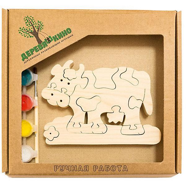 Развивающий пазл Коровка с ромашкойПазлы для малышей<br>Характеристики товара:<br><br>• возраст: от 3 лет; <br>• количество деталей: 11 шт.;<br>• материал: пластик, дерево, краски;<br>• комплект: элементы пазла, кисточка, краски 6 цветов;<br>• размер упаковки: 20х20х3 см.;<br>• упаковка: картонная коробка блистерного типа;<br>• cтрана обладатель бренда: Россия.<br><br>Игрушка собирается и разбирается по принципу пазла, что поможет ребенку в игровой форме развить внимание, логическое и образное мышление. <br><br>Собрав игрушку коровку с ромашкой, ее можно раскрасить по своему усмотрению, использовав краски и кисточку из набора.<br><br>Элементы игрушки изготовлены из экологически чистой березовой древесины.<br><br>Развивающий пазл можно купить в нашем интернет-магазине.<br><br>Ширина мм: 30<br>Глубина мм: 200<br>Высота мм: 200<br>Вес г: 200<br>Возраст от месяцев: 36<br>Возраст до месяцев: 84<br>Пол: Унисекс<br>Возраст: Детский<br>SKU: 7276676