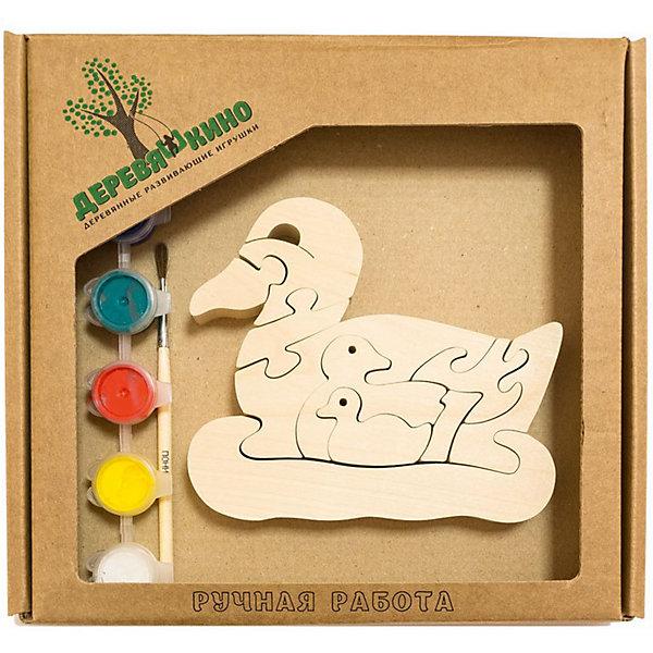 Развивающий пазл Утка и утятаПазлы для малышей<br>Характеристики товара:<br><br>• возраст: от 3 лет;<br>• количество деталей: 11 шт.;<br>• материал: пластик, дерево, краски;<br>• комплект: элементы пазла, кисточка, краски 6 цветов;<br>• размер упаковки: 20х20х3 см.;<br>• упаковка: картонная коробка блистерного типа;<br>• cтрана обладатель бренда: Россия.<br><br>Игрушка собирается и разбирается по принципу пазла, что поможет ребенку в игровой форме развить внимание, логическое и образное мышление. <br><br>Собрав утку с утятами, их можно раскрасить по своему усмотрению, использовав краски и кисточку из набора.<br><br>Элементы игрушки изготовлены из экологически чистой березовой древесины.<br><br>Развивающий пазл можно купить в нашем интернет-магазине.<br>Ширина мм: 30; Глубина мм: 200; Высота мм: 200; Вес г: 200; Возраст от месяцев: 36; Возраст до месяцев: 84; Пол: Унисекс; Возраст: Детский; SKU: 7276678;