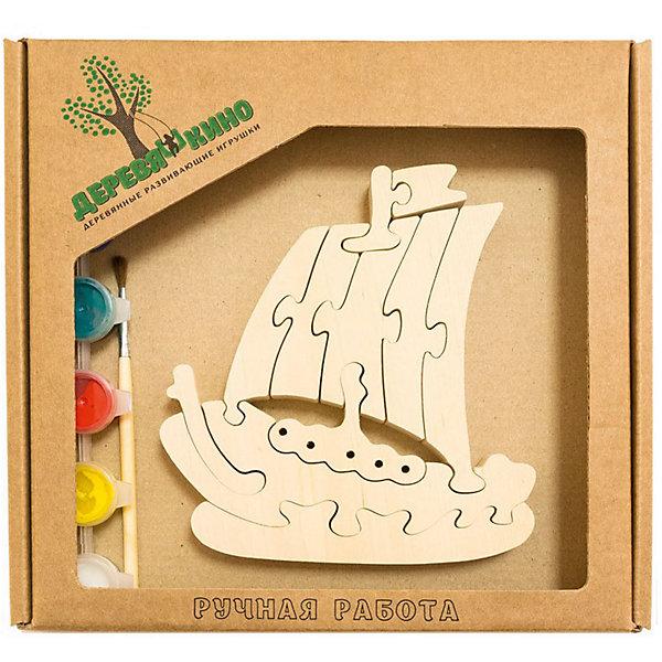 Развивающий пазл КорабликПазлы для малышей<br>Характеристики товара:<br><br>• возраст: от 3 лет; <br>• персонаж: кораблик;<br>• количество деталей: 11 шт.;<br>• материал: пластик, дерево, краски;<br>• комплект: элементы пазла, кисточка, краски 6 цветов;<br>• размер упаковки: 20х20х3 см.;<br>• упаковка: картонная коробка блистерного типа;<br>• cтрана обладатель бренда: Россия.<br><br>Игрушка собирается и разбирается по принципу пазла, что поможет ребенку в игровой форме развить внимание, логическое и образное мышление. <br><br>Собрав кораблик, его можно раскрасить по своему усмотрению, использовав краски и кисточку из набора.<br><br>Элементы игрушки изготовлены из экологически чистой березовой древесины.<br><br>Развивающий пазл можно купить в нашем интернет-магазине.<br>Ширина мм: 30; Глубина мм: 200; Высота мм: 200; Вес г: 200; Возраст от месяцев: 36; Возраст до месяцев: 84; Пол: Унисекс; Возраст: Детский; SKU: 7276679;