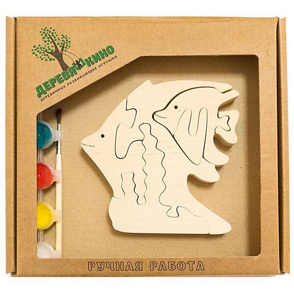 Развивающий пазл РыбкиПазлы для малышей<br>Характеристики товара:<br><br>• возраст: от 3 лет;<br>• персонаж: рыбки;<br>• количество деталей: 11 шт.;<br>• материал: пластик, дерево, краски;<br>• комплект: элементы пазла, кисточка, краски 6 цветов;<br>• размер упаковки: 20х20х3 см.;<br>• упаковка: картонная коробка блистерного типа;<br>• cтрана обладатель бренда: Россия.<br><br>Игрушка собирается и разбирается по принципу пазла, что поможет ребенку в игровой форме развить внимание, логическое и образное мышление. <br><br>Собрав рыбок, их можно раскрасить по своему усмотрению, использовав краски и кисточку из набора.<br><br>Элементы игрушки изготовлены из экологически чистой березовой древесины.<br><br>Развивающий пазл можно купить в нашем интернет-магазине.<br>Ширина мм: 30; Глубина мм: 200; Высота мм: 200; Вес г: 200; Возраст от месяцев: 36; Возраст до месяцев: 84; Пол: Унисекс; Возраст: Детский; SKU: 7276680;