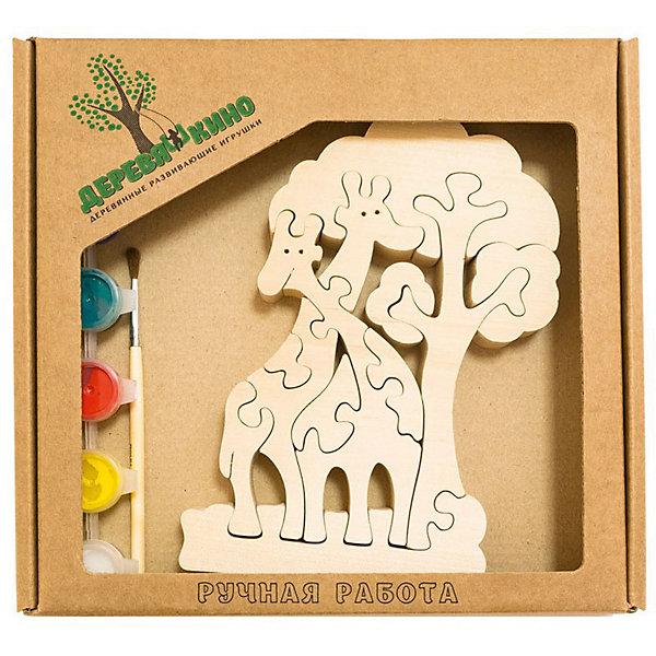 Развивающий пазл Жирафы и деревоПазлы для малышей<br>Характеристики товара:<br><br>• возраст: от 3 лет; <br>• персонажи: жирафы и дерево;<br>• количество деталей: 11 шт.;<br>• материал: пластик, дерево, краски;<br>• комплект: элементы пазла, кисточка, краски 6 цветов;<br>• размер упаковки: 20х20х3 см.;<br>• упаковка: картонная коробка блистерного типа;<br>• cтрана обладатель бренда: Россия.<br><br>Игрушка собирается и разбирается по принципу пазла, что поможет ребенку в игровой форме развить внимание, логическое и образное мышление. <br><br>Собрав жирафа с деревом, их можно раскрасить по своему усмотрению, использовав краски и кисточку из набора.<br><br>Элементы игрушки изготовлены из экологически чистой березовой древесины.<br><br>Развивающий пазл можно купить в нашем интернет-магазине.<br><br>Ширина мм: 9999<br>Глубина мм: 9999<br>Высота мм: 9999<br>Вес г: 9999<br>Возраст от месяцев: 36<br>Возраст до месяцев: 84<br>Пол: Унисекс<br>Возраст: Детский<br>SKU: 7276681