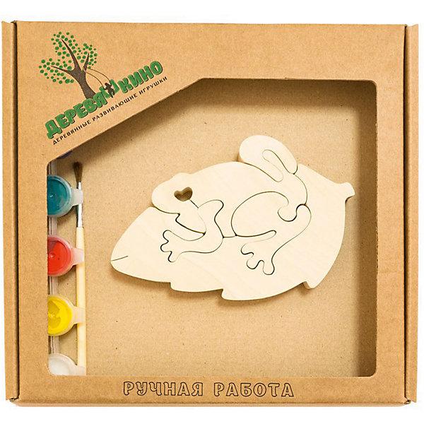 Развивающий пазл Жабка на листкеПазлы для малышей<br>Характеристики товара:<br><br>• возраст: от 3 лет;<br>• персонаж: жабка на листке;<br>• количество деталей: 11 шт.;<br>• материал: пластик, дерево, краски;<br>• комплект: элементы пазла, кисточка, краски 6 цветов;<br>• размер упаковки: 20х20х3 см.;<br>• упаковка: картонная коробка блистерного типа;<br>• cтрана обладатель бренда: Россия.<br><br>Игрушка собирается и разбирается по принципу пазла, что поможет ребенку в игровой форме развить внимание, логическое и образное мышление. <br><br>Собрав жабку сидящую на листке, ее можно раскрасить по своему усмотрению, использовав краски и кисточку из набора.<br><br>Элементы игрушки изготовлены из экологически чистой березовой древесины.<br><br>Развивающий пазл можно купить в нашем интернет-магазине.<br>Ширина мм: 30; Глубина мм: 200; Высота мм: 200; Вес г: 200; Возраст от месяцев: 36; Возраст до месяцев: 84; Пол: Унисекс; Возраст: Детский; SKU: 7276682;