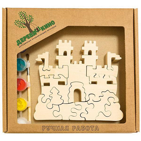 Развивающий пазл Замок с башнямиПазлы для малышей<br>Характеристики товара:<br><br>• возраст: от 3 лет;  <br>• персонаж: замок с башнями;<br>• количество деталей: 11 шт.;<br>• материал: пластик, дерево, краски;<br>• комплект: элементы пазла, кисточка, краски 6 цветов;<br>• размер упаковки: 20х20х3 см.;<br>• упаковка: картонная коробка блистерного типа;<br>• cтрана обладатель бренда: Россия.<br><br>Игрушка собирается и разбирается по принципу пазла, что поможет ребенку в игровой форме развить внимание, логическое и образное мышление. <br><br>Собрав замок с башнями, его можно раскрасить по своему усмотрению, использовав краски и кисточку из набора.<br><br>Элементы игрушки изготовлены из экологически чистой березовой древесины.<br><br>Развивающий пазл можно купить в нашем интернет-магазине.<br><br>Ширина мм: 30<br>Глубина мм: 200<br>Высота мм: 200<br>Вес г: 200<br>Возраст от месяцев: 36<br>Возраст до месяцев: 84<br>Пол: Унисекс<br>Возраст: Детский<br>SKU: 7276683