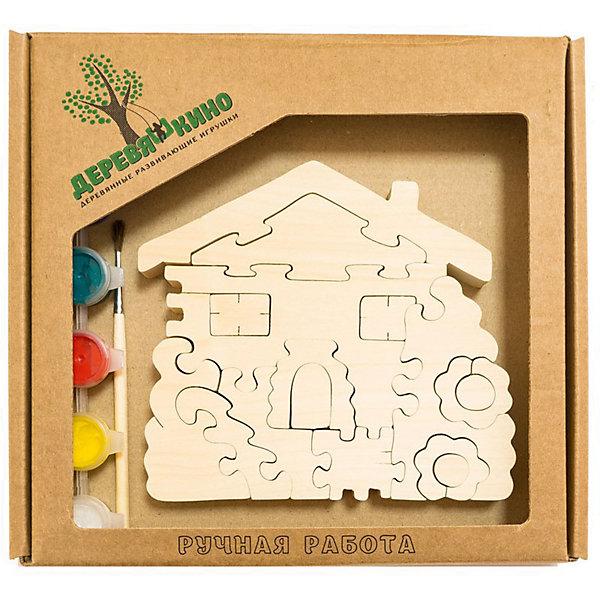 Развивающий пазл Домик с цветамиПазлы для малышей<br>Характеристики товара:<br><br>• возраст: от 3 лет; <br>• персонаж: домик с цветами;<br>• количество деталей: 11 шт.;<br>• материал: пластик, дерево, краски;<br>• комплект: элементы пазла, кисточка, краски 6 цветов;<br>• размер упаковки: 20х20х3 см.;<br>• упаковка: картонная коробка блистерного типа;<br>• cтрана обладатель бренда: Россия.<br><br>Игрушка собирается и разбирается по принципу пазла, что поможет ребенку в игровой форме развить внимание, логическое и образное мышление. <br><br>Собрав домик и цветы, их можно раскрасить по своему усмотрению, использовав краски и кисточку из набора.<br><br>Элементы игрушки изготовлены из экологически чистой березовой древесины.<br><br>Развивающий пазл можно купить в нашем интернет-магазине.<br><br>Ширина мм: 30<br>Глубина мм: 200<br>Высота мм: 200<br>Вес г: 200<br>Возраст от месяцев: 36<br>Возраст до месяцев: 84<br>Пол: Унисекс<br>Возраст: Детский<br>SKU: 7276684