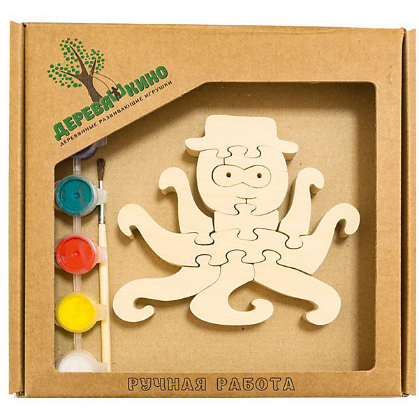 Развивающий пазл ОсьминогПазлы для малышей<br>Характеристики товара:<br><br>• возраст: от 3 лет;   <br>• персонаж: осьминог;<br>• количество деталей: 11 шт.;<br>• материал: пластик, дерево, краски;<br>• комплект: элементы пазла, кисточка, краски 6 цветов;<br>• размер упаковки: 20х20х3 см.;<br>• упаковка: картонная коробка блистерного типа;<br>• cтрана обладатель бренда: Россия.<br><br>Игрушка собирается и разбирается по принципу пазла, что поможет ребенку в игровой форме развить внимание, логическое и образное мышление. <br><br>Собрав осьминога, его можно раскрасить по своему усмотрению, использовав краски и кисточку из набора.<br><br>Элементы игрушки изготовлены из экологически чистой березовой древесины.<br><br>Развивающий пазл можно купить в нашем интернет-магазине.<br>Ширина мм: 30; Глубина мм: 200; Высота мм: 200; Вес г: 200; Возраст от месяцев: 36; Возраст до месяцев: 84; Пол: Унисекс; Возраст: Детский; SKU: 7276687;