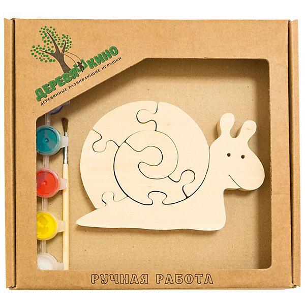 Развивающий пазл Веселая улиткаПазлы для малышей<br>Характеристики товара:<br><br>• возраст: от 3 лет; <br>• персонаж: веселая улитка;<br>• количество деталей: 11 шт.;<br>• материал: пластик, дерево, краски;<br>• комплект: элементы пазла, кисточка, краски 6 цветов;<br>• размер упаковки: 20х20х3 см.;<br>• упаковка: картонная коробка блистерного типа;<br>• cтрана обладатель бренда: Россия.<br><br>Игрушка собирается и разбирается по принципу пазла, что поможет ребенку в игровой форме развить внимание, логическое и образное мышление. <br><br>Собрав веселую улитку, ее можно раскрасить по своему усмотрению, использовав краски и кисточку из набора.<br><br>Элементы игрушки изготовлены из экологически чистой березовой древесины.<br><br>Развивающий пазл можно купить в нашем интернет-магазине.<br>Ширина мм: 30; Глубина мм: 200; Высота мм: 200; Вес г: 200; Возраст от месяцев: 36; Возраст до месяцев: 84; Пол: Унисекс; Возраст: Детский; SKU: 7276688;