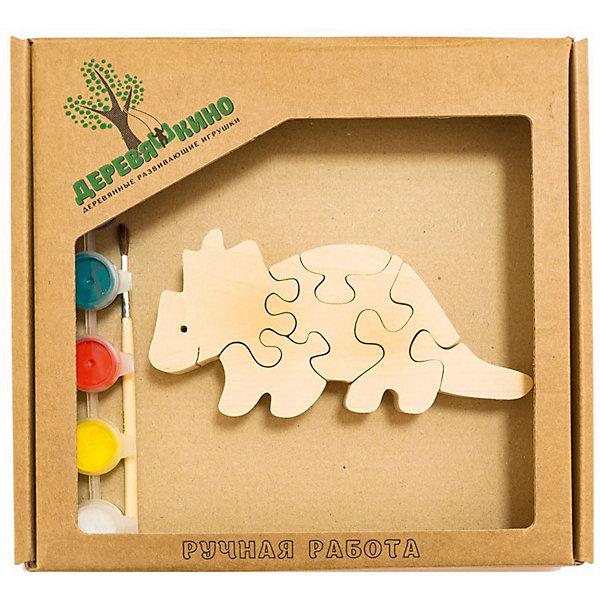 Развивающий пазл Бронтозавр 2Пазлы для малышей<br>Характеристики товара:<br><br>• возраст: от 3 лет; <br>• персонаж: бронтозавр;<br>• количество деталей: 11 шт.;<br>• материал: пластик, дерево, краски;<br>• комплект: элементы пазла, кисточка, краски 6 цветов;<br>• размер упаковки: 20х20х3 см.;<br>• упаковка: картонная коробка блистерного типа;<br>• cтрана обладатель бренда: Россия.<br><br>Игрушка собирается и разбирается по принципу пазла, что поможет ребенку в игровой форме развить внимание, логическое и образное мышление. <br><br>Собрав бронтозавра, его можно раскрасить по своему усмотрению, использовав краски и кисточку из набора.<br><br>Элементы игрушки изготовлены из экологически чистой березовой древесины.<br><br>Развивающий пазл можно купить в нашем интернет-магазине.<br><br>Ширина мм: 30<br>Глубина мм: 200<br>Высота мм: 200<br>Вес г: 200<br>Возраст от месяцев: 36<br>Возраст до месяцев: 84<br>Пол: Унисекс<br>Возраст: Детский<br>SKU: 7276690