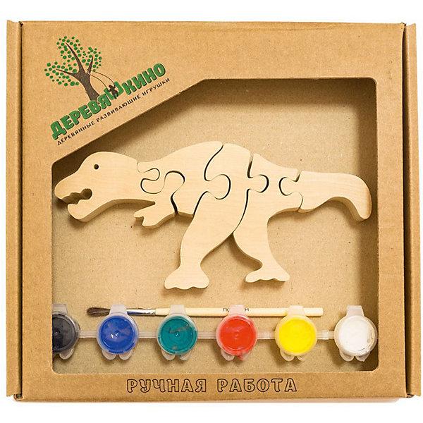 Развивающий пазл Тираннозавр РексПазлы для малышей<br>Характеристики товара:<br><br>• возраст: от 3 лет;<br>• персонаж: тиранозавр Рекс;<br>• количество деталей: 11 шт.;<br>• материал: пластик, дерево, краски;<br>• комплект: элементы пазла, кисточка, краски 6 цветов;<br>• размер упаковки: 20х20х3 см.;<br>• упаковка: картонная коробка блистерного типа;<br>• cтрана обладатель бренда: Россия.<br><br>Игрушка собирается и разбирается по принципу пазла, что поможет ребенку в игровой форме развить внимание, логическое и образное мышление. <br><br>Собрав тиранозавра Рекса, его можно раскрасить по своему усмотрению, использовав краски и кисточку из набора.<br><br>Элементы игрушки изготовлены из экологически чистой березовой древесины.<br><br>Развивающий пазл можно купить в нашем интернет-магазине.<br><br>Ширина мм: 9999<br>Глубина мм: 9999<br>Высота мм: 9999<br>Вес г: 9999<br>Возраст от месяцев: 36<br>Возраст до месяцев: 84<br>Пол: Унисекс<br>Возраст: Детский<br>SKU: 7276691