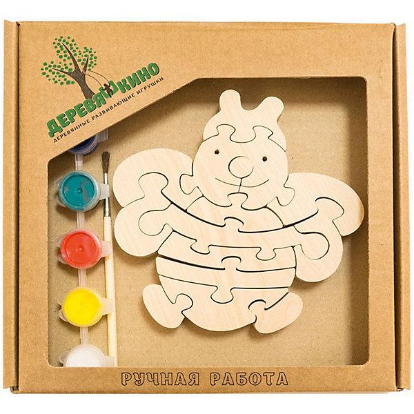 Развивающий пазл ПчелкаПазлы для малышей<br>Характеристики товара:<br><br>• возраст: от 3 лет; <br>• персонаж: пчелка;<br>• количество деталей: 11 шт.;<br>• материал: пластик, дерево, краски;<br>• комплект: элементы пазла, кисточка, краски 6 цветов;<br>• размер упаковки: 20х20х3 см.;<br>• упаковка: картонная коробка блистерного типа;<br>• cтрана обладатель бренда: Россия.<br><br>Игрушка собирается и разбирается по принципу пазла, что поможет ребенку в игровой форме развить внимание, логическое и образное мышление. <br><br>Собрав пчелку, ее можно раскрасить по своему усмотрению, использовав краски и кисточку из набора.<br><br>Элементы игрушки изготовлены из экологически чистой березовой древесины.<br><br>Развивающий пазл можно купить в нашем интернет-магазине.<br>Ширина мм: 30; Глубина мм: 200; Высота мм: 200; Вес г: 200; Возраст от месяцев: 36; Возраст до месяцев: 84; Пол: Унисекс; Возраст: Детский; SKU: 7276693;