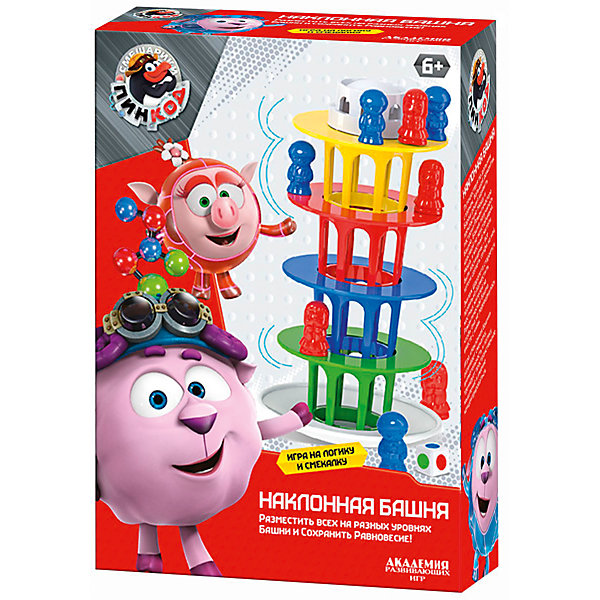 Настольная игра Наклонная БашняСмешарики<br>Характеристики товара:<br><br>• возраст: от 3 лет; <br>• герои: смешарики;<br>• количество игроков: от 2; <br>• комплект:  18 фигурок человечков 2 цветов, наклонная башня из 6 составных частей, кубик с наклейками;<br>• материал: пластик;<br>• размер упаковки: 5x15x20 см.;<br>• упаковка: картонная коробка.<br><br>Настольная игра обрадует своей неординарностью, красочным дизайном и задачей на смекалку. <br><br>В собранном виде игрушечное архитектурное строение напоминает знаменитую Пизанскую башню. Конструкцию надо собрать таким образом, что бы башня не перевернулась. В этом помогут пластиковые фигурки человечков. <br><br>Набор отлично подойдет для сюжетно-ролевых игр. Эта игра развивает логическое и пространственное мышление, формирует творческую фантазию у ребенка.<br><br>Настольную игру можно купить в нашем интернет-магазине.<br><br>Ширина мм: 9999<br>Глубина мм: 9999<br>Высота мм: 9999<br>Вес г: 9999<br>Возраст от месяцев: 36<br>Возраст до месяцев: 84<br>Пол: Унисекс<br>Возраст: Детский<br>SKU: 7276707