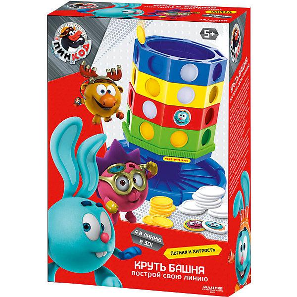 Настольная игра Круть-БашняСмешарики<br>Характеристики товара:<br><br>• возраст: от 3 лет; <br>• герои: смешарики;<br>• количество игроков: 2; <br>• комплект:  1башня с 4 вращающимися разноцветными уровнями и открывающимся основанием, 32 жетона, наклейки, правила игры;<br>• материал: пластик;<br>• размер упаковки: 28,5x20x0,8 см.;<br>• упаковка: картонная коробка;<br>• высота башни: 16 см.;<br>• страна обладатель бренда: Россия.<br><br>Настольная игра создана по мотивам мультсериала смешарики и является продолжением известной всем игры 4 в линию. <br><br>Игровое поле представляет собой вращающуюся башню с отверстиями для жетонов, из которых нужно сложить линию одного цвета. В комплекте можно найти 32 жетона 2 цветов, а также наклейки с изображением персонажей мультсериала. <br><br>Настольную игру можно купить в нашем интернет-магазине.<br>Ширина мм: 80; Глубина мм: 200; Высота мм: 290; Вес г: 400; Возраст от месяцев: 36; Возраст до месяцев: 84; Пол: Унисекс; Возраст: Детский; SKU: 7276708;