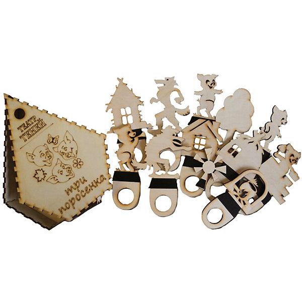 Фигура для театра теней ТРИ ПОРОСЕНКАКукольный театр<br>Характеристики товара:<br><br>• возраст: от 3 лет;  <br>• комплект: фигурки для театра теней, коробочка;<br>• материал: дерево, магнитный винил;<br>• упаковка: пленка;<br>• размер упаковки: 22х16,8х3 см.;<br>• страна обладатель бренда: Россия.<br><br>Фигурки для театра теней Три поросенка позволят ребенку вместе с родителями устроить удивительный спектакль по мотивам известной русской сказки. <br><br>В комплект входят 12 деревянных фигурок: 6 из них выполнены в форме главных героев повествования, а другие представляют собой декорации для придания необходимой атмосферы всему происходящему и следования оригинальному сюжету.<br><br>Ширма в комплект не входит и приобретается отдельно.<br><br>Фигурки для театра теней  можно купить в нашем интернет-магазине.<br>Ширина мм: 45; Глубина мм: 220; Высота мм: 170; Вес г: 300; Возраст от месяцев: 36; Возраст до месяцев: 84; Пол: Унисекс; Возраст: Детский; SKU: 7276718;