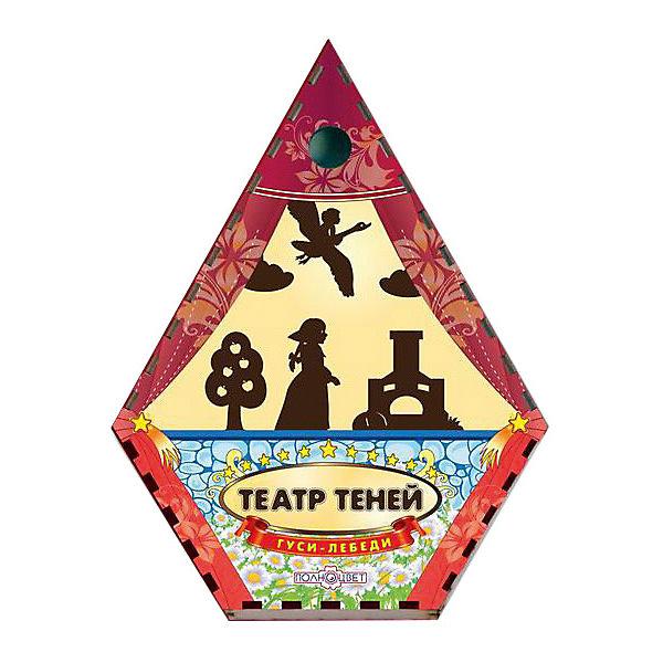 Театр теней Гуси-Лебеди цветнойКукольный театр<br>Характеристики товара:<br><br>• возраст: от 3 лет;   <br>• комплект: ширма, фигурки;<br>• материал: дерево, магнит, текстиль;<br>• упаковка: пленка;<br>• размер упаковки: 22х17х3 см.;<br>• толщина фанеры: 0,3 см.;<br>• размер ширмы: 47х36х5 см.;<br>• страна обладатель бренда: Россия.<br><br>Сказка Гуси-лебеди повествует об отважной девочке, которая спасает своего братца, похищенного Бабой Ягой. <br><br>Достаточно только направить лампу на рамку с тканью. В комплекте вы найдете фигурки всех главных героев, а также декорации в виде деревьев, избушки, и других предметов. <br><br>Все фигурки тщательно обработаны, имеют отверстия для пальца и виниловую ленту для крепления к ширме.<br><br>Театр теней  можно купить в нашем интернет-магазине.<br><br>Ширина мм: 9999<br>Глубина мм: 9999<br>Высота мм: 9999<br>Вес г: 9999<br>Возраст от месяцев: 36<br>Возраст до месяцев: 84<br>Пол: Унисекс<br>Возраст: Детский<br>SKU: 7276737