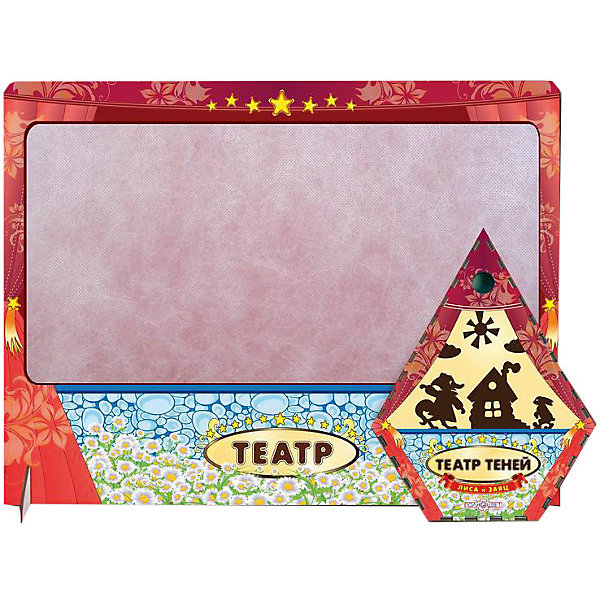 Театр теней Лиса и заяц цветной с ширмойКукольный театр<br>Характеристики товара:<br><br>• возраст: от 3 лет; <br>• комплект: ширма, фигурки;<br>• материал: дерево, магнит, винил;<br>• упаковка: пленка;<br>• размер упаковки: 57х36х3 см.;<br>• страна обладатель бренда: Россия.<br><br>Настольная игра Лиса и заяц  является интересным занятием для детей с хорошим воображением. Она помогает развивать у ребенка память, а также способность мыслить и говорить последовательно и логично. <br><br>Главное условие выключенный свет и направленное освещение на ширму театра теней, на которой и будет происходить главное действие.<br><br>В набор игры входят: цветная ширма, фигурки персонажей и декорации для сказки, которые крепятся на ширму с помощью магнитов.<br><br>Театр теней  можно купить в нашем интернет-магазине.<br><br>Ширина мм: 50<br>Глубина мм: 470<br>Высота мм: 360<br>Вес г: 520<br>Возраст от месяцев: 36<br>Возраст до месяцев: 84<br>Пол: Унисекс<br>Возраст: Детский<br>SKU: 7276738