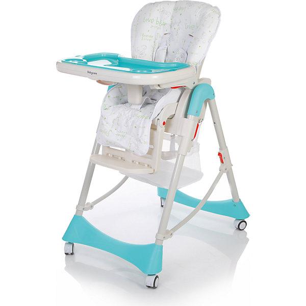 Стульчик для кормления Baby Care Love Bear, синийСтульчики для кормления с 6 месяцев<br>Характеристики:<br><br>• регулируемая высота сиденья: 6 положений;<br>• регулируемый наклон спинки: 3 положения вплоть до горизонтального;<br>• регулируемая подножка;<br>• съемная столешница;<br>• дополнительный прозрачный поднос с углублениями для поильника и бортиками;<br>• 3 положения глубины столешницы;<br>• 5-ти точечные ремни безопасности;<br>• паховый ограничитель от соскальзывания вниз;<br>• сетчатый кармашек для игрушек;<br>• компактное складывание;<br>• устойчивость в сложенном виде в вертикальном положении;<br>• колесики для удобного перемещения по квартире: 4 шт. со стопорами;<br>• материал: алюминий, пластик, полиэстер;<br>• размер стульчика: 53х76х104 см;<br>• размер в сложенном виде: 53х30х114 см;<br>• ширина сиденья: 32 см;<br>• вес стульчика: 10,3 кг;<br>• размер упаковки: 51х29х75 см;<br>• вес в упаковке: 12,5 кг.<br><br>Напольный стульчик для кормления Love Bear Baby Care обладает регулируемой спинкой и подножкой, малыш может отдохнуть после еды или поиграть в ожидании обеда. Высота стульчика регулируется в зависимости от возраста ребенка. Сетчатый карман для игрушек позволяет иметь под рукой разные мелкие предметы, чтобы развлекать кроху. Колесики способствуют свободному перемещению стульчика по квартире. Стульчик для кормления компактно складывается для хранения и транспортировки. <br><br>Стульчик для кормления Baby Care Love Bear, синий можно купить в нашем интернет-магазине.<br>Ширина мм: 750; Глубина мм: 510; Высота мм: 290; Вес г: 10300; Цвет: синий; Возраст от месяцев: 6; Возраст до месяцев: 72; Пол: Унисекс; Возраст: Детский; SKU: 7277155;