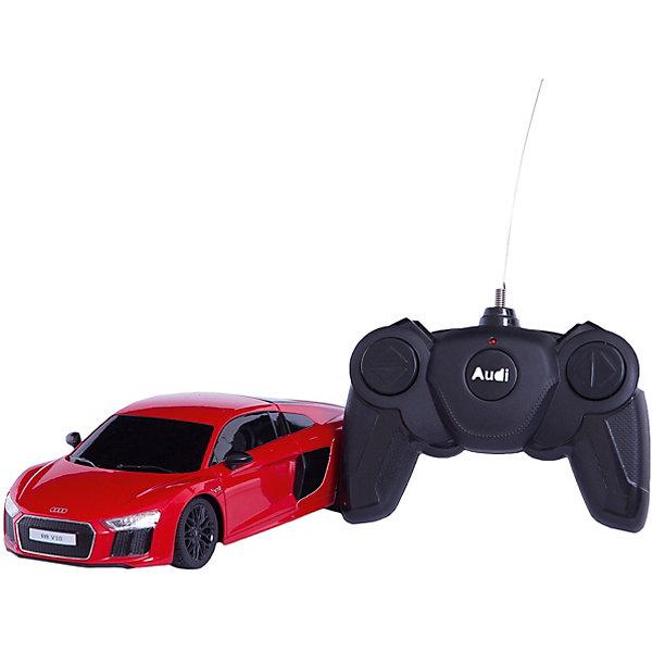 Радиоуправляемая машинка Rastar Audi R8 2015 Version, 1:24Радиоуправляемые машины<br>Характеристики товара:<br><br>• возраст: от 5 лет;<br>• материал: пластик, металл;<br>• в комплекте: машина, пульт;<br>• тип батареек: 5 батареек АА;<br>• наличие батареек: не входят в комплект;<br>• дальность действия пульта: 15 метров;<br>• размер машины: 18,5х8,5х5 см;<br>• масштаб: 1:24;<br>• размер упаковки: 38,5х12х10 см;<br>• вес упаковки: 447 гр.;<br>• страна производитель: Китай.<br><br>Радиоуправляемая машина Rastar AUDI R8 2015 Version представляет собой копию настоящего автомобиля. Машина умеет ездить вперед и назад, поворачивать. Она развивает скорость до 7 км/час. Подойдет для игр как в помещении, так и на улице.<br><br>Радиоуправляемую машину Rastar AUDI R8 2015 Version можно приобрести в нашем интернет-магазине.<br><br>Ширина мм: 184<br>Глубина мм: 85<br>Высота мм: 53<br>Вес г: 447<br>Возраст от месяцев: 36<br>Возраст до месяцев: 180<br>Пол: Мужской<br>Возраст: Детский<br>SKU: 7297273